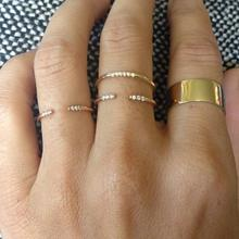 simple minimal jewelry design open adjust gold color cz women girl finger simple delicate ring cheap