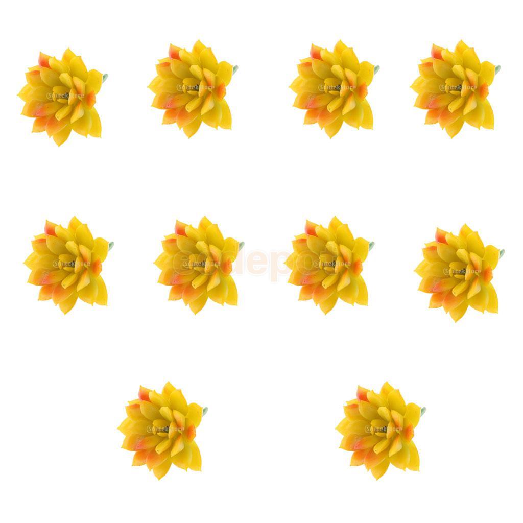 10 Pieces Artificial Succulent Lifelike Plastic Foliage Plant Flowers DIY Home Garden Yard Floral Decor Yellow