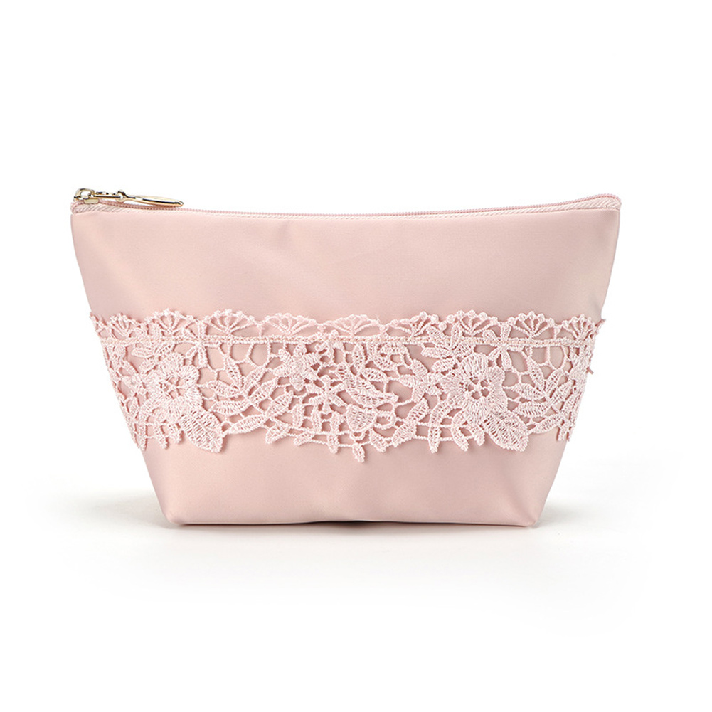 4 Light Colors Polyester Travel Cosmetic Bag With Lace Patchwork Pouch Makeup