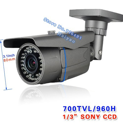 Security Sony Effio-e CCD 700tvl 960H 42 leds IR 40 meters outdoor surveillance CCTV Camera with bracket free shipping