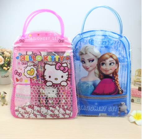 Hello Kitty Cartoon Cute Handbag Bag - 7 1 Suit Combinations Of Children Stationery Bag Handbag
