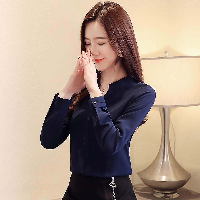 Womens Tops And Blouses Blusas Mujer De Moda 2021 Shirts Beading Chiffon Blouse Solid V-Neck White Shirts 2412 50 6