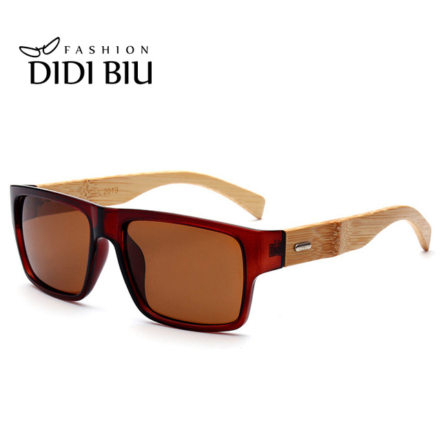 051002313fc DIDI Bamboo Polarized Sunglasses Men Square Flat Top Glasses Women Luxury  Brand Original Wood Eyewear Driver s Punk Shadows H716