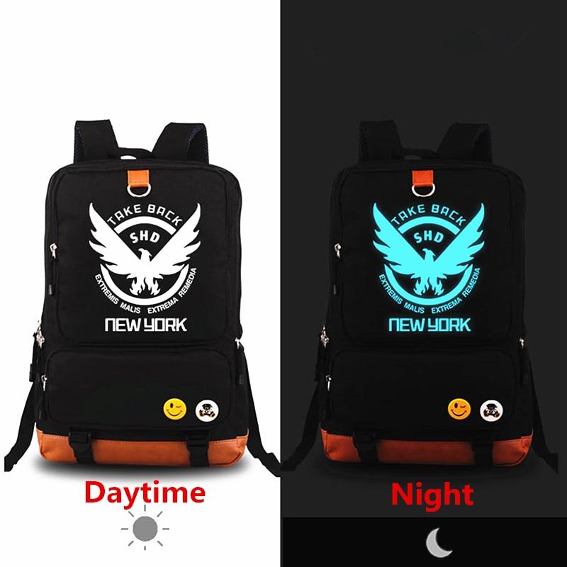 2018 New Game The Division Backpack Blue Luminous Laptop Printing Backpacks Canvas School Bags Men Women Rugzak Mochila Feminina