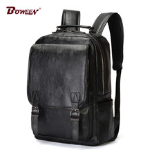 e335bd8f1e Zaino in pelle Vintage degli uomini di sacchetti di scuola per adolescenti  di grandi dimensioni solido marrone nero zainetto Uni.