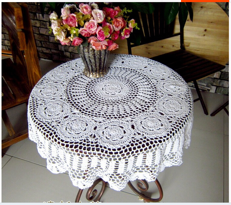 Free Shipping New Handmade Cotton Flower Crochet Round Doilies Decorative  Tablecloth Vintage Cover Cloth Round Tablecloths