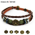 Handmade Punk Leather Bracelet  Genuine Leather Braided Rope Copper Charms Snap Button Biker Vintage Men Jewelry Accesories