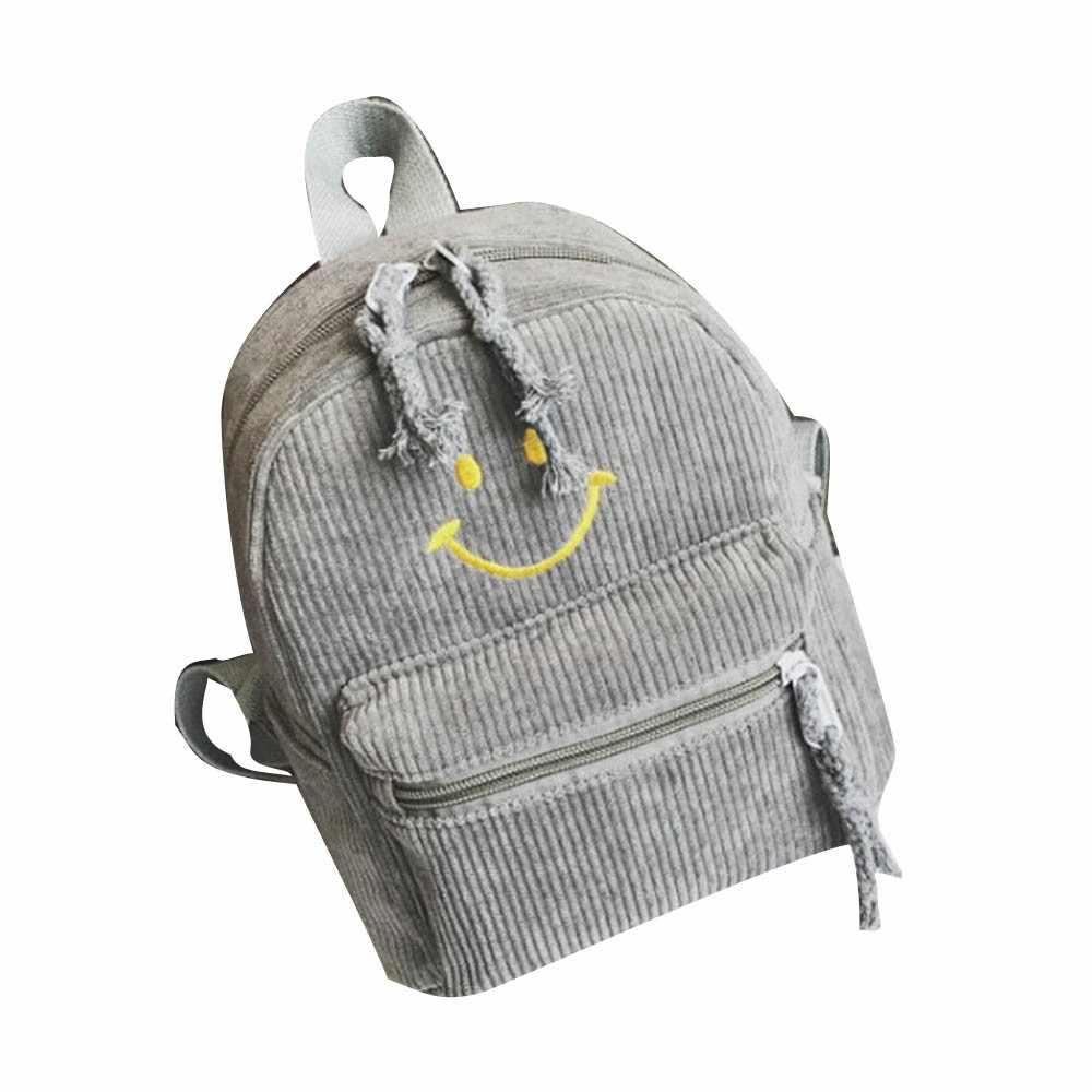 d46ca4bcfa Children Bag Fashion Smiley Parent-Child Backpack Cute Smile Printing  Backpacks Corduroy Zipper Travel Cute