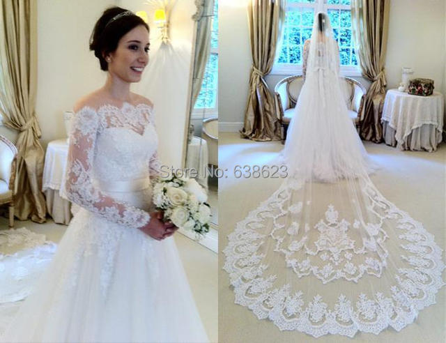 Daw free shipping lace applique a line tulle long sleeves