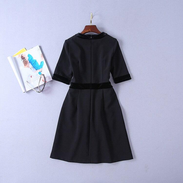 Qualité Bureau Robe Printemps Dames Haute Piste 2019 De D'été Partie Moitié Manches Patchwork Velours Élégante Femmes Designer gxt8wtZ