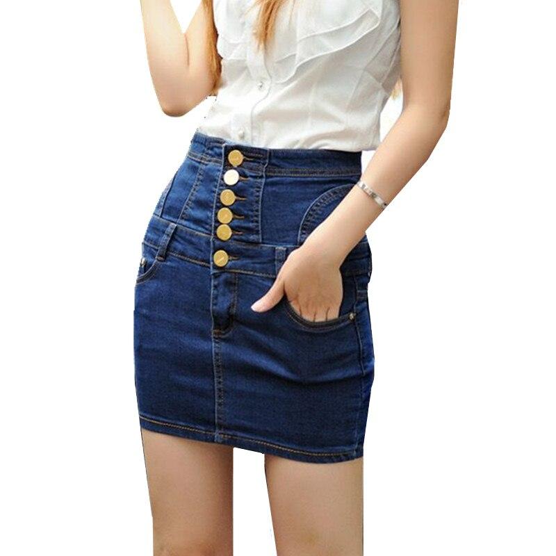 nueva casual hasta la rodilla falda de jean verano moda vaquera falda para mujer bolsillos