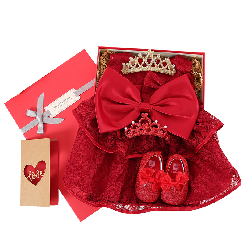 New Bron Girl Red Princess Gift package Dress Baby Girl Dress Kids Party Birthday Outfits Baby Girl gift Box Red Baby Dress стоимость
