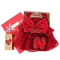 New Bron Girl Red Princess Gift package Dress Baby Girl Dress Kids Party Birthday Outfits Baby Girl gift Box Red Baby Dress