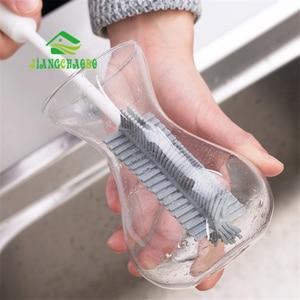 Image 4 - JiangChaoBo силиконовая щетка для чистки стекла с длинной ручкой, щетка для чашки, бытовой чай, кухонная щетка для мытья, губка