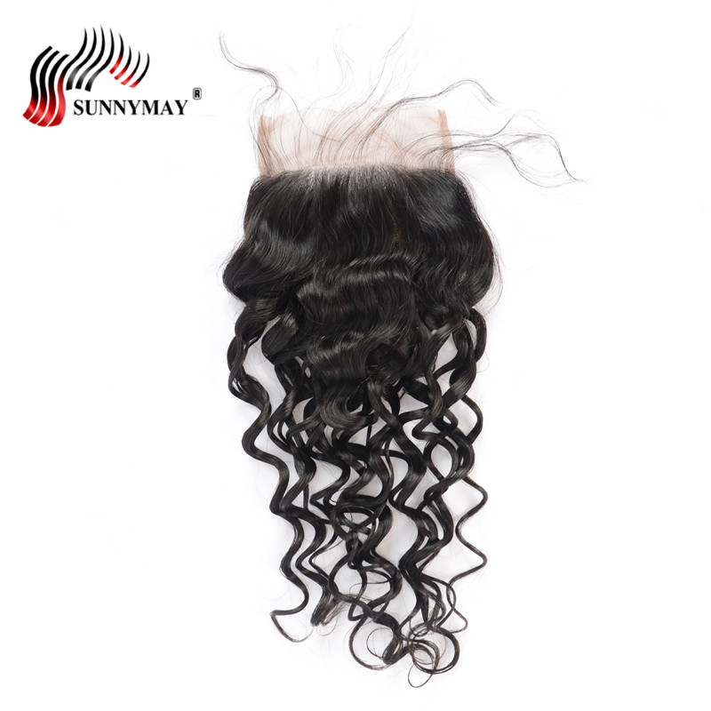 Sunnymay 5x5 Water Wave Lace Closure With Baby Hair Pre Plucked Malaysian Virgin Hair Bleached Knots For Women