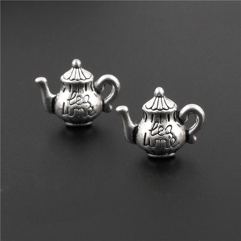 10 pçs prata cor chaleira encantos bule pingente apto fazendo pulseira jóias achados acessórios artesanato por atacado 13x1mm a3103