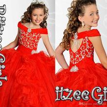 Новинка; пышные платья с кристаллами для девочек; бальное платье органза с открытыми плечами и бусинами; цвет красный, белый; платья принцессы с цветочным узором для девочек