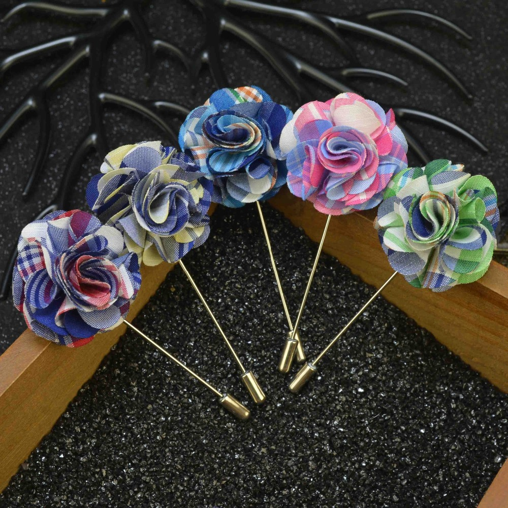 Mens jacket brooch - 5pcs Fashion Men Lapel Flower Colorful Pin Brooch For Suits Wedding Party Jacket Pins Popular Brooches