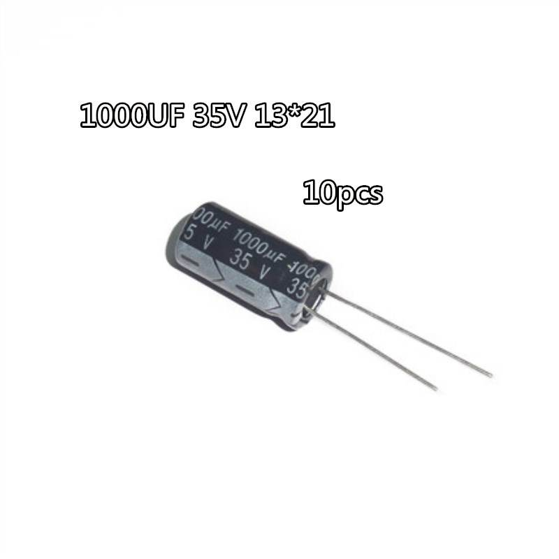 10pcs High Frequency Low Resistance 35V 1000UF New Electrolytic Capacitor 35v1000uf Maintenance Commonly Used Volume 13 * 21
