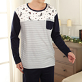 New Brand Mens Sexy Sleepwear Pijama Masculino Cat Print Long Sleeve Pullover Pajamas Pull Homme Winter Men Clothing L3
