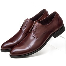 Breathable black brown tan pointed toe oxfords mens dress shoes genuine leather wedding shoes mens business