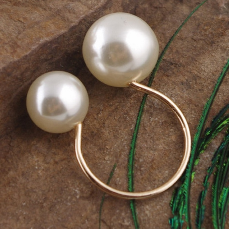 Original New Femme Adjustable Double Pearl Rings For Women Beach Tidal Jewellery Wedding Gifts 2018 New Girls Gift in Rings from Jewelry Accessories