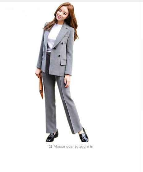 2017 cotton thick Fashion winter Korean Breasted Two Piece Slim Girl elegant fashion trends korean warm women Suit