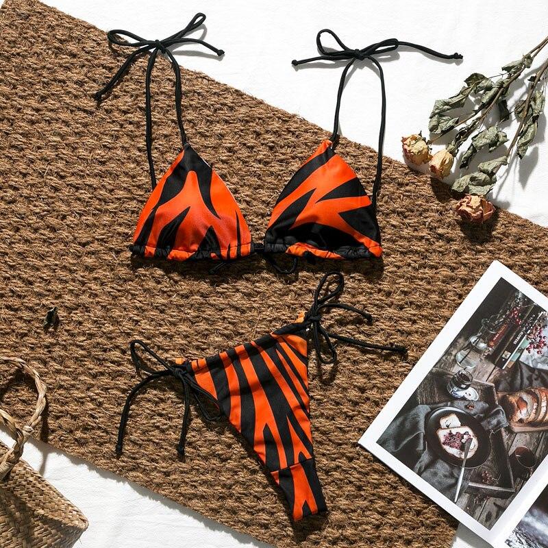 HTB1EYspba67gK0jSZFHq6y9jVXav Brazilian bikini thong Micro print bikini Neon swimwear women 2019 bathers Push up 3 piece swimsuit female string bathing suit
