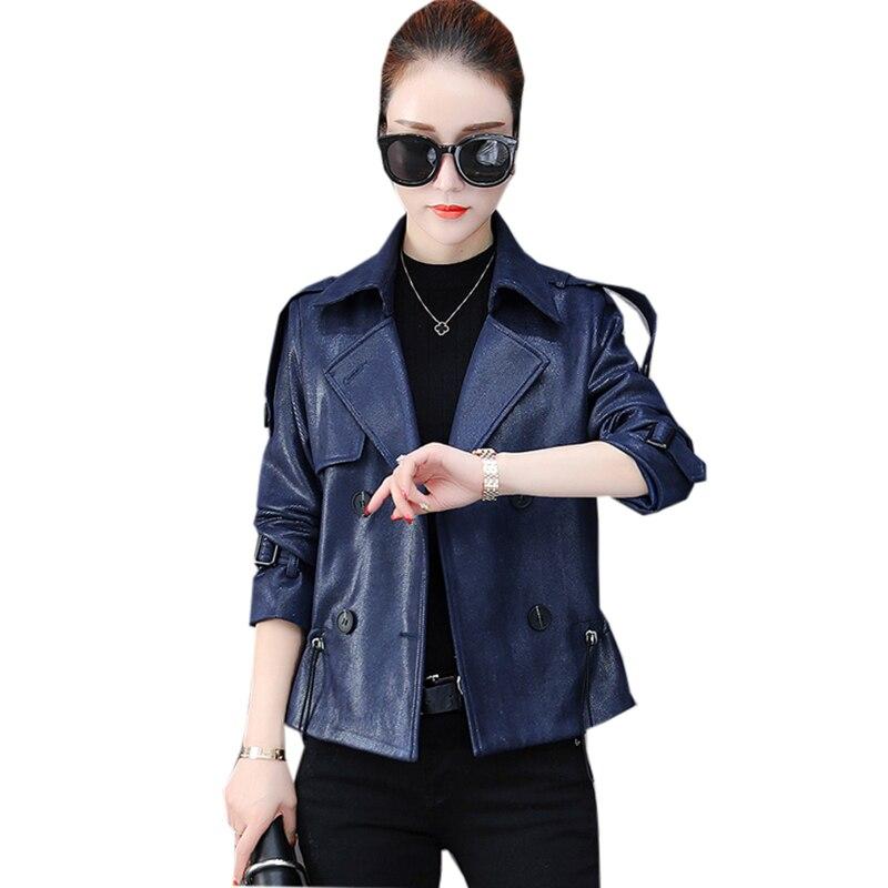 Nouveau automne Deerskin veste manteaux mode court Double boutonnage manteaux décontractés Outwear de haute qualité femmes manteaux vestes FP1379