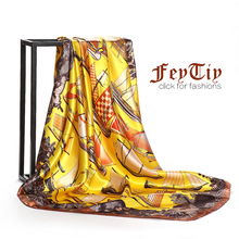 Women Fashion Silk-Satin Print Square Scarves 2018 New Brand Spring Head Hijab Shawl Wraps Wholesale 90cm*90cm