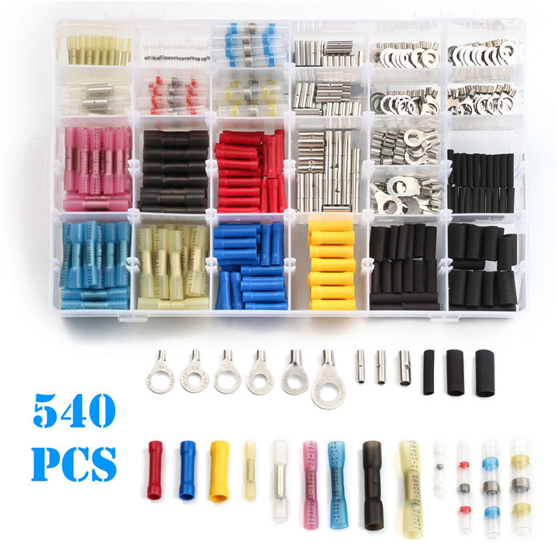 540pcs Heat Shrink Tube Wrap Wire Cable Sleeve PVC Butt Splice Terminals Non-insulated Soldered Sleeve Ring Connector Kit gathered sleeve surplice wrap dress