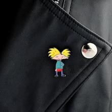 Cartoon Hey Arnold yellow hair cool boy pin figure Brooch PU shirt Jacket Pin Buckle Shirt Badge Gift for Kids sons