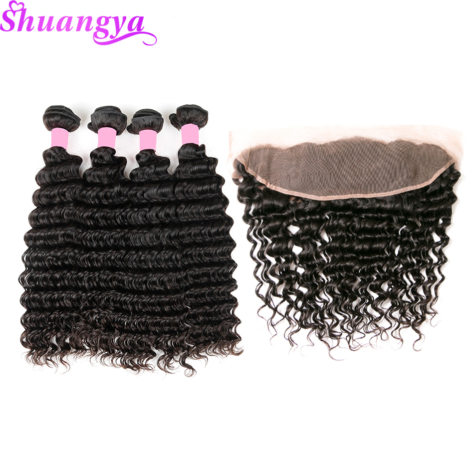 Indian Deep Wave With Frontal Shuangya Remy Hair