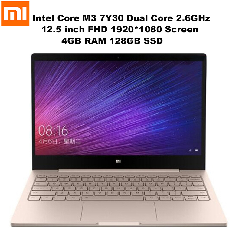 Xiao mi mi Portable Air 12.5 ''FHD Écran Windows 10 Intel Core M3 7Y30 Dual Core 2.6 GHz 4 GB + 128 GB HD mi Double Bande Wifi Ordinateurs Portables