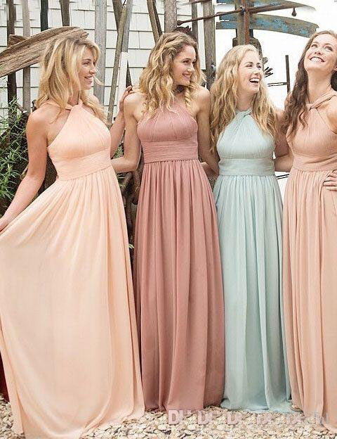 Fashion Halter Cheap Bridesmaid Dress 2017 Chiffon Pleated Open Back Long Cheap Wedding Guest Party Prom Formal Dress Gown