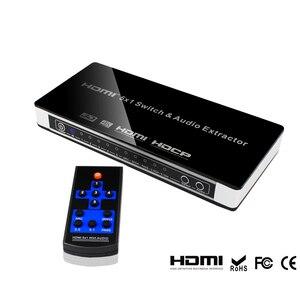 Image 3 - 2019 yeni HDMI anahtarı Switcher 5x1 HDMI ses Extractor 4K x 2K 3D ark ses EDID ayar 7.1CH/ADV/2CH