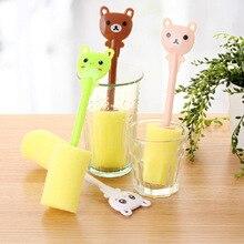 1pcs Sponge Baby Bottle Brush Newborn Feeding Milk Bottle Nipple Brush Cleaner Cleaning Tool Random Color
