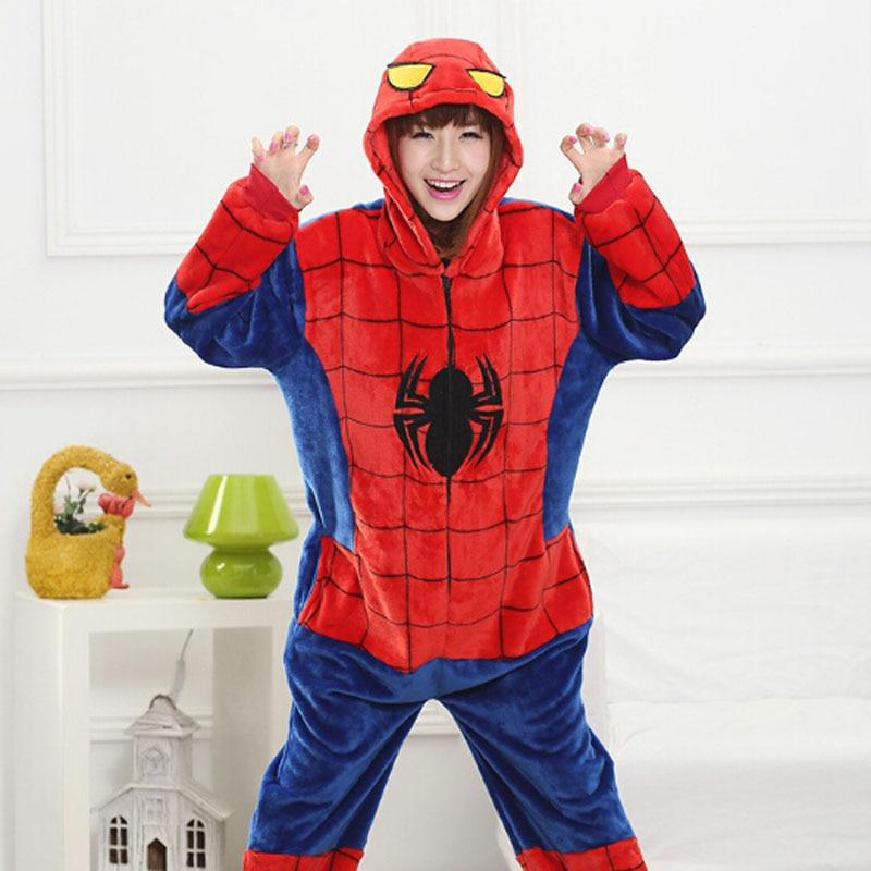 b3e2057f7a ANIMALCARTOON 2018 Spiderman Flannel Autumn and winter Cosplay Cartoon animals  Pajamas for women adult Hooded Pajama sets Onesie