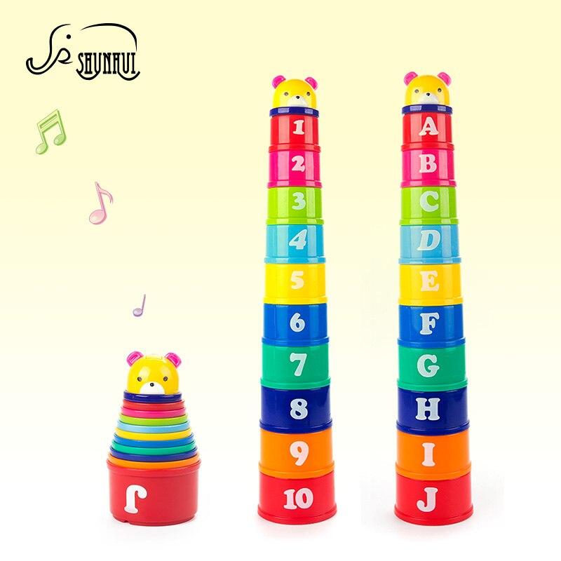 11pcs Otroški gradbeni bloki Igrače za otroke Zlaganje zložljivih skodelic Glasbeni medved Pagoda Tower figura in pismo Razsvetlite igrače za otroke