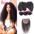 Tissage Bresilienne Brazilian Kinky Curly With lace Closure 2/3/4bundles 7A Unprocessed Brazilian Virgin Hair Kinky Curly Hair