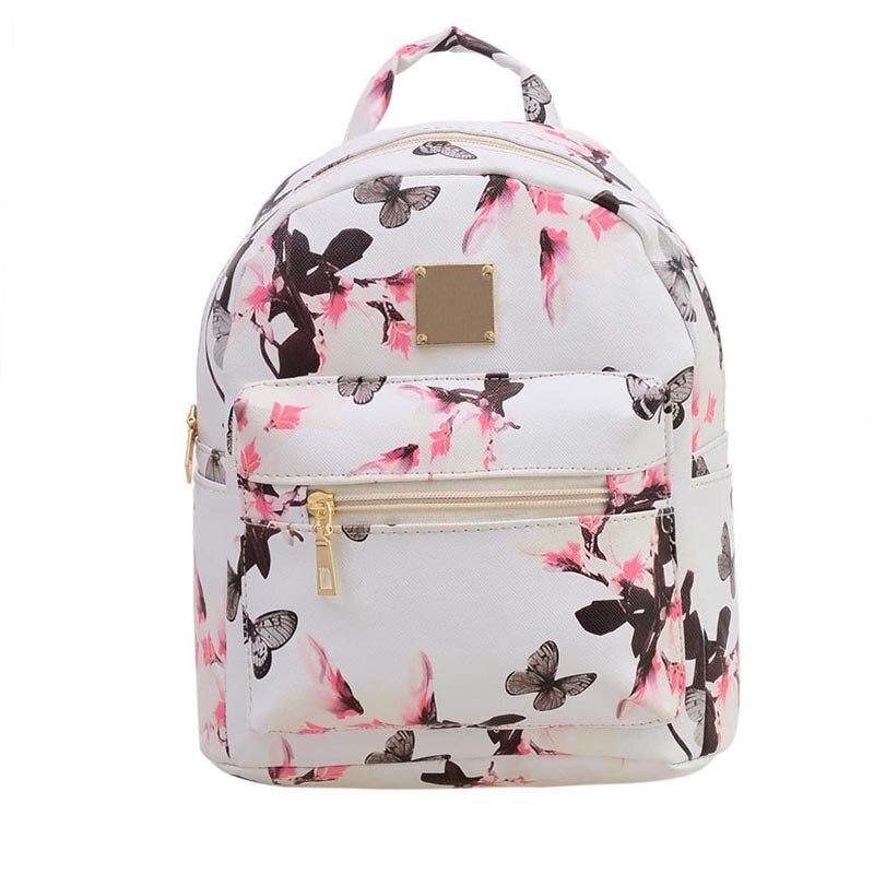 2017 искусственная кожа карман девушка Рюкзаки мешок нарциссы Заклёпки Для женщин сумка школьница рюкзак
