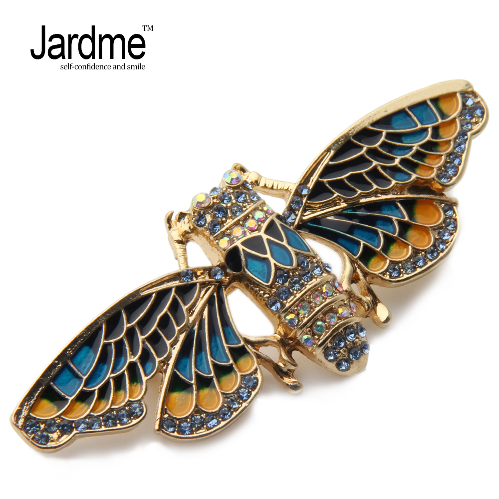 Jardme Vintage Enamel Glazed Insect Cicadas Brooches AAA Zircon Luxury New Design Corsage Badges Collar Clip Party Gift