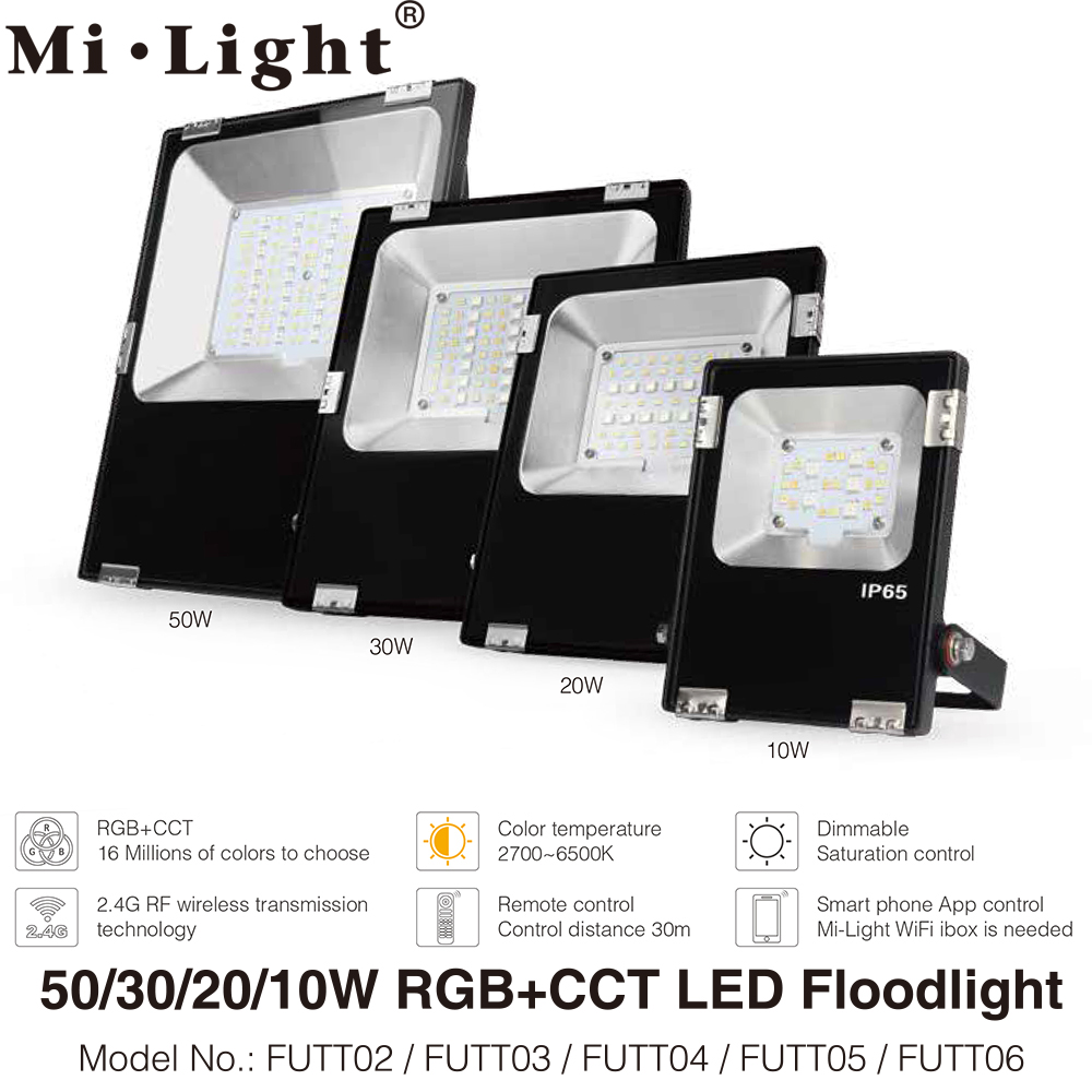 Milight RGB+CCT LED Flood Light 10W 20W 30W 50W 100W AC86-265V 2.4G Remote / WiFi Control IP65 Waterproof LED Floodlight