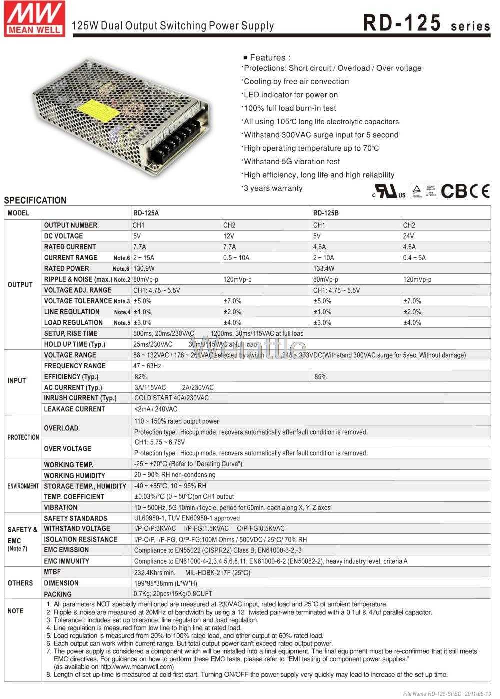 MEAN WELL RD-125A 131W 5V 12V  RD-125B 133W 5V 24V Dual Output Switching Power Supply