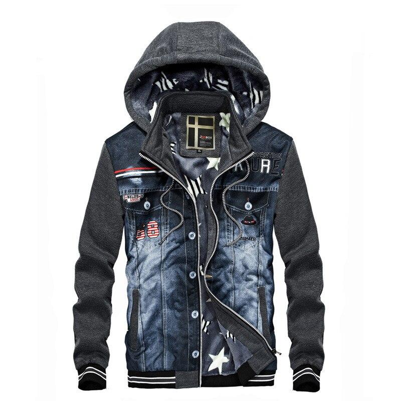New Men Denim Jacket Fashion Cowboy Stitching Hooded Fleece winter Jackets Coat For Men Coats Plus Size Outwear streetwear 22
