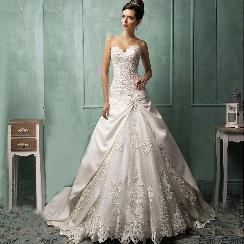 New Empire White/ivory Court Train Vintage Wedding Dress