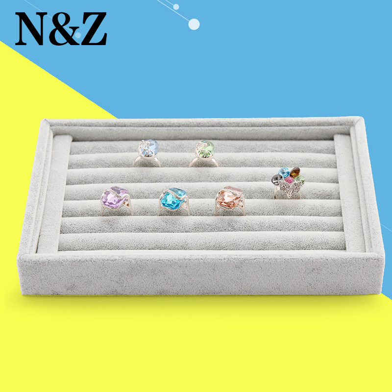 2017 Free Shipping,Wholesale New Gray color Jewelry Rings Display Show Case Organizer Tray Box