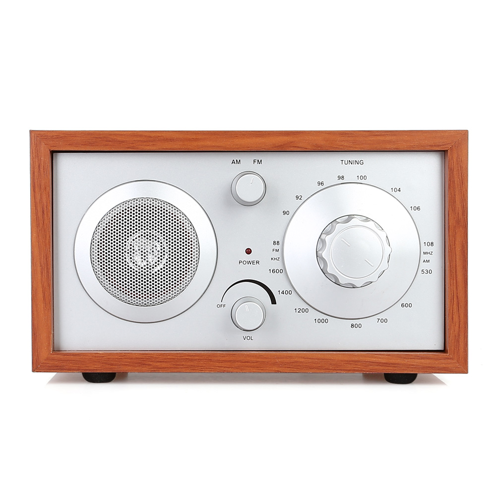 Am fm radio speaker classic wooden case cabinet receiver long soft antenna charging cable china