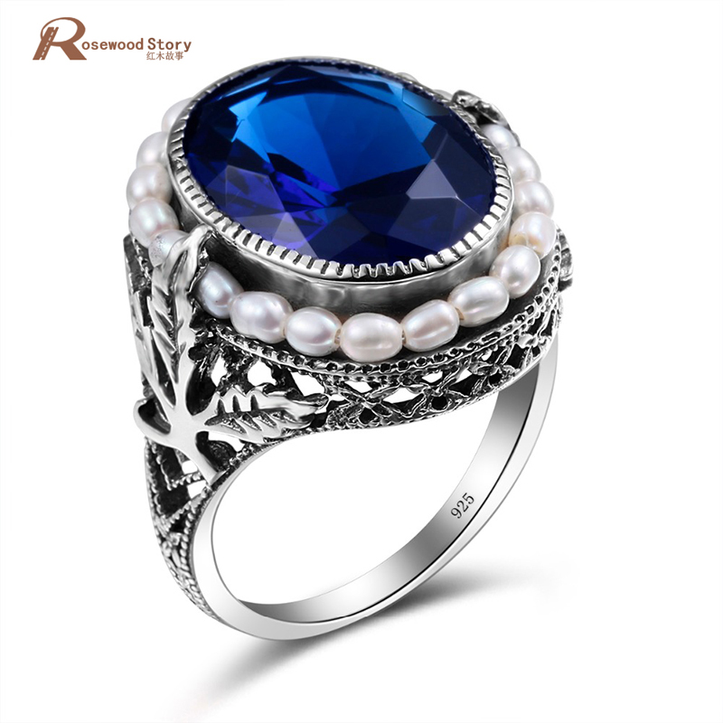 Charm Created Sapphire Stone Cocktail Ring Vintange Natural Pearl Rings 925 Sterling Silver For Women Party Jewelry Wedding RingCharm Created Sapphire Stone Cocktail Ring Vintange Natural Pearl Rings 925 Sterling Silver For Women Party Jewelry Wedding Ring