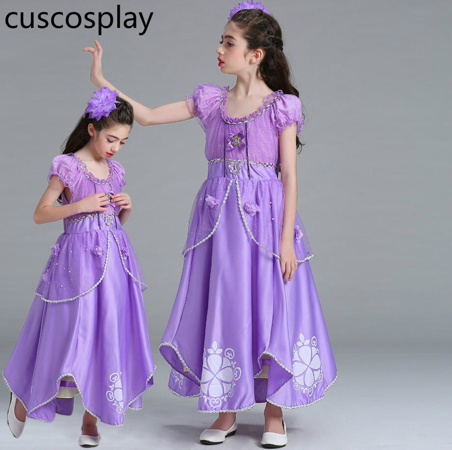 Kids Cosplay Princess Sofia Costume The First Princess Sofia Dress for Halloween Birthday Party Costume Sofia Cosplay Costume